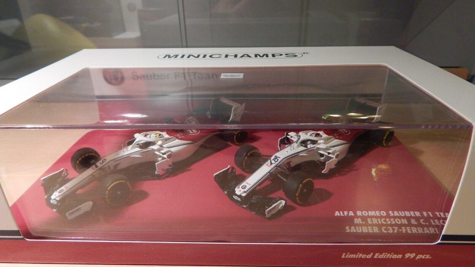Sauber Ferrari Alfa Romeo C37 2018 Leclerc Ericsson 1 43 Minichamps 2 car set