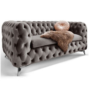 Chesterfield Sofa 2 Sitzer Emma Grau Couch Lounge Samt Stoff