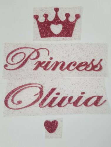 princess Personalised Iron on glitter transfer of crown name in 17 colours
