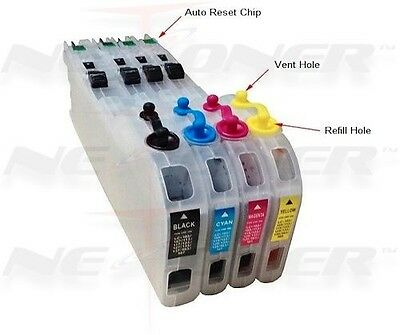 4 Refillable Ink Cartridges for Brother LC-101 103 105 107 J470 J475 J650 ARC