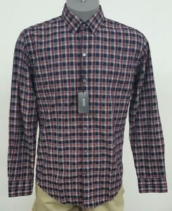 62c1f1b0b Hugo Boss Black Label Red Plaid Sharp Fit Button Up L/S Men's Shirt ...
