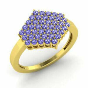 0.86 Ct Natural Gemstone Tanzanite Engagement Rings 14K Yellow Gold Size K L M O
