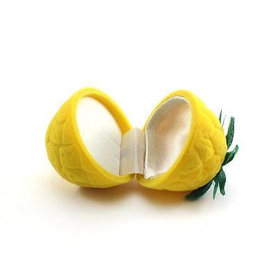 Yellow Pineapple Velvet Eardop Ring Earring Pendant Jewellery Boxes Holder Case