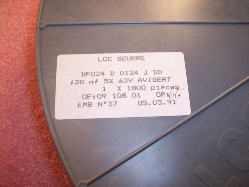 100 .12uf 63V 5/% RADIAL METALLIZED POLYESTER BOX FILM BF024D0124JDD LCC QTY