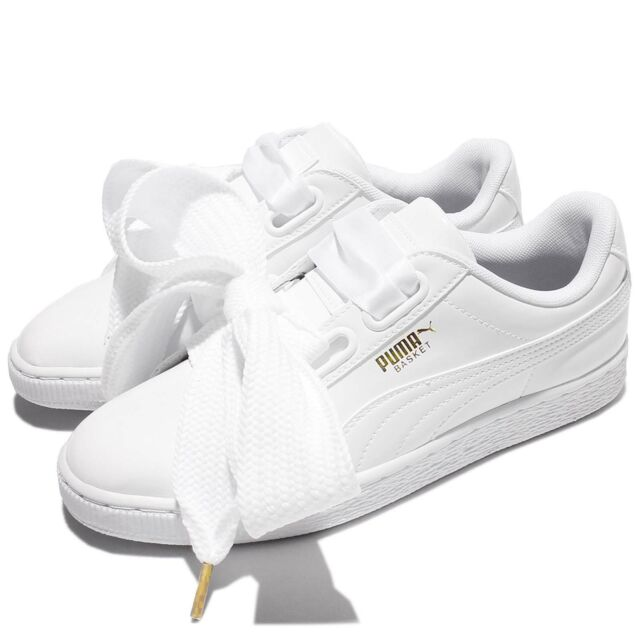 8894f919ca5a47 Puma Basket Heart Patent Wns Leather White Women Shoes Sneakers 363073-02