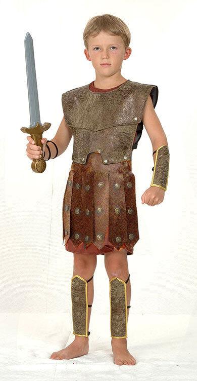 BOYS CENTURIAN ROMAN WARRIOR SOLDIER GLADIATOR FANCY DRESS COSTUME OUTFIT 7 9 11