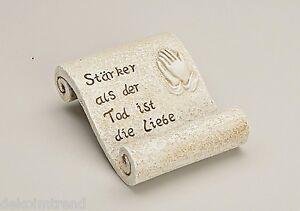 Grabdekoration Schriftrolle /'In Liebe/' aus Polyresin