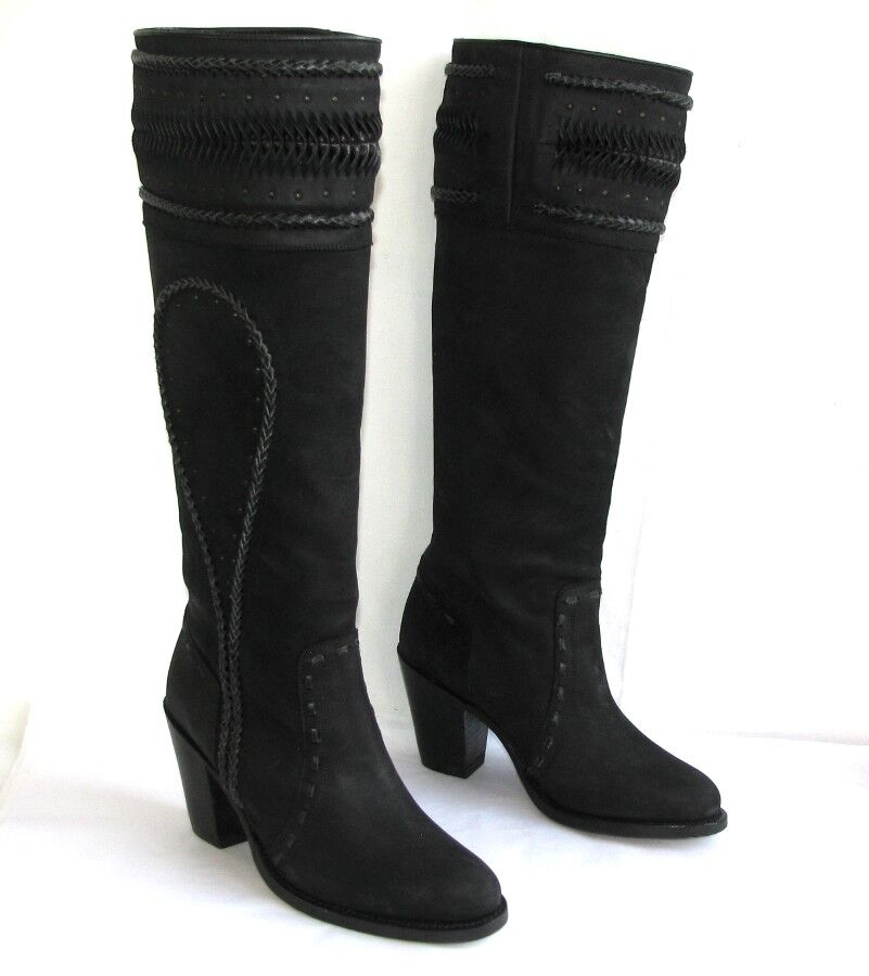 BARBARA BUI Botas de equitación tacones 8 cm en piel mate negro 37