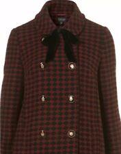Topshop Black Red Check Tweed Peter Pan Collar Vtg 60s Tie Neck Pea Coat 8 4 36