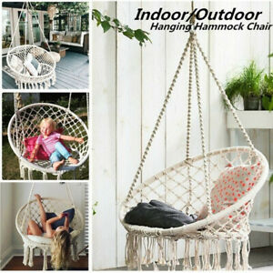 Macrame Hammock Chair Round Swing Hang Cotton Rope Outdoor Home