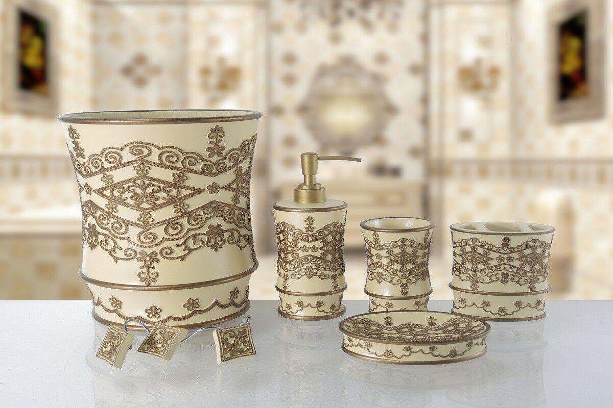 6 Piece Decorative Bathroom Accessory set Made of Ceramic (Vivian Beige)