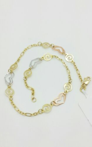 """14k Yellow Gold Hearts and Swirls Cable Chain Bracelet Anklet 9/"""" 10/"""""""