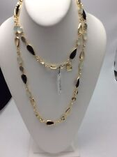$50 Anne Klein Long Black Gold Tone Crystal Necklace #604