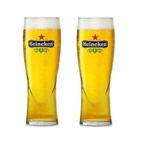 2-Heineken-Pilsner-16-oz-Bar-Beer-Glasses-Star-Etched-Glass-bottom-H9665A-New