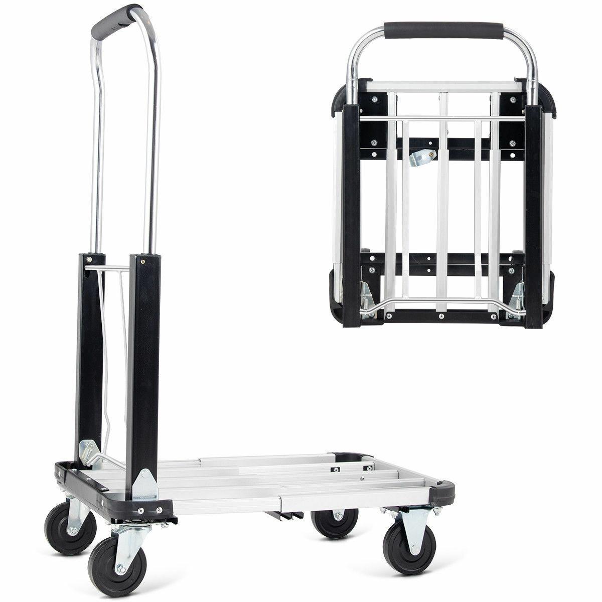 330lb Rolling Platform Cart Dolly Folding Luggage Hand Truck Trolley Heavy Duty