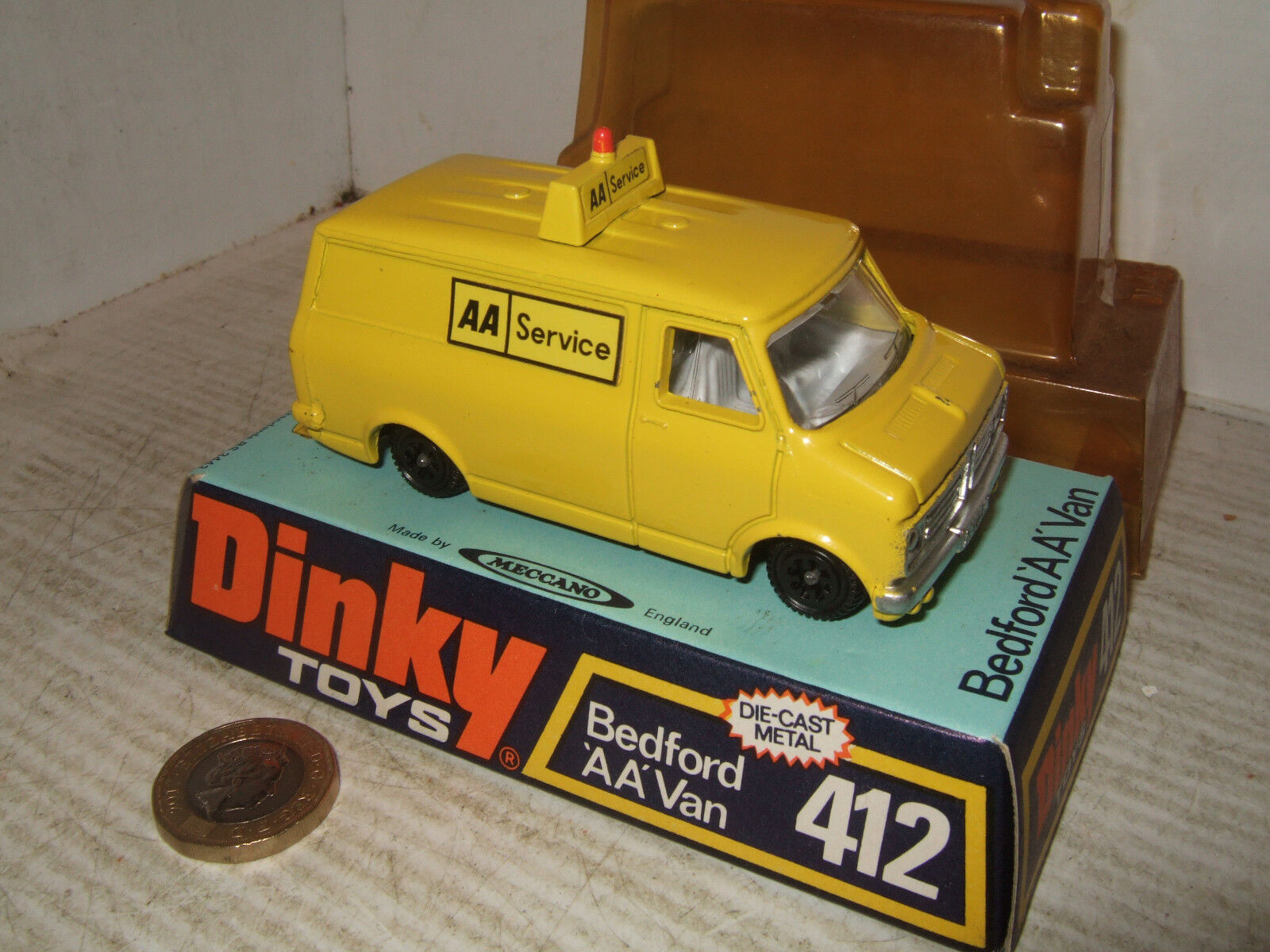 Rare Vintage Dinky Toys 412 Bedford AA Van Diecast Model with Damaged Blister