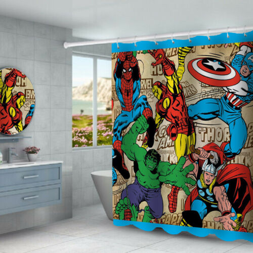Marvel Avengers Bathroom Rugs Shower Curtain Bath Mat Toilet Lid Cover 4PCS Set