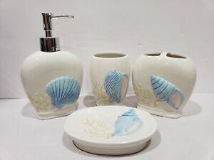 Details About 4pc Coastal Nautical Bath Bathroom Accessory Seashell Beach Decor New