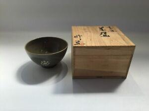 Japanese-Pottery-Tea-Cup-Chawan-Vtg-Signed-Kouda-Ware-Wooden-Box-Yakimono-R139