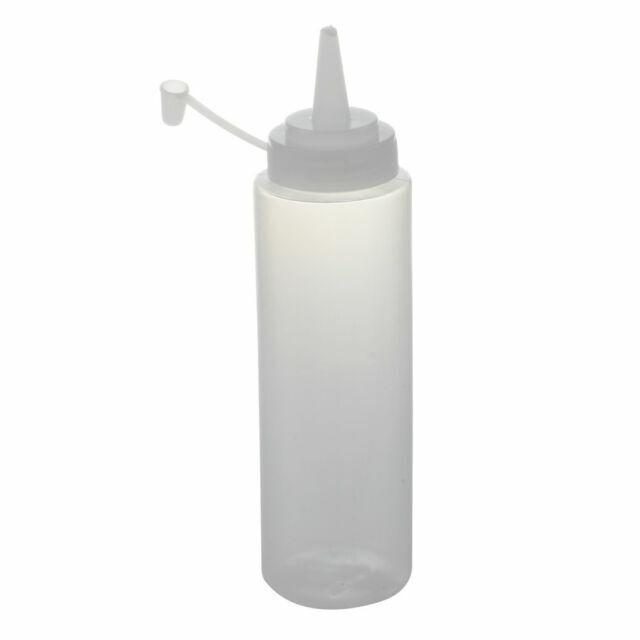 4pcs Clear Plastic Squeeze Bottle Condiment Dispenser Ketchup Mustard Sauce