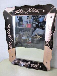 Small Romantic Mirror Pink Edges Clear Venetian Ornate Glass Art Nouveau Ebay