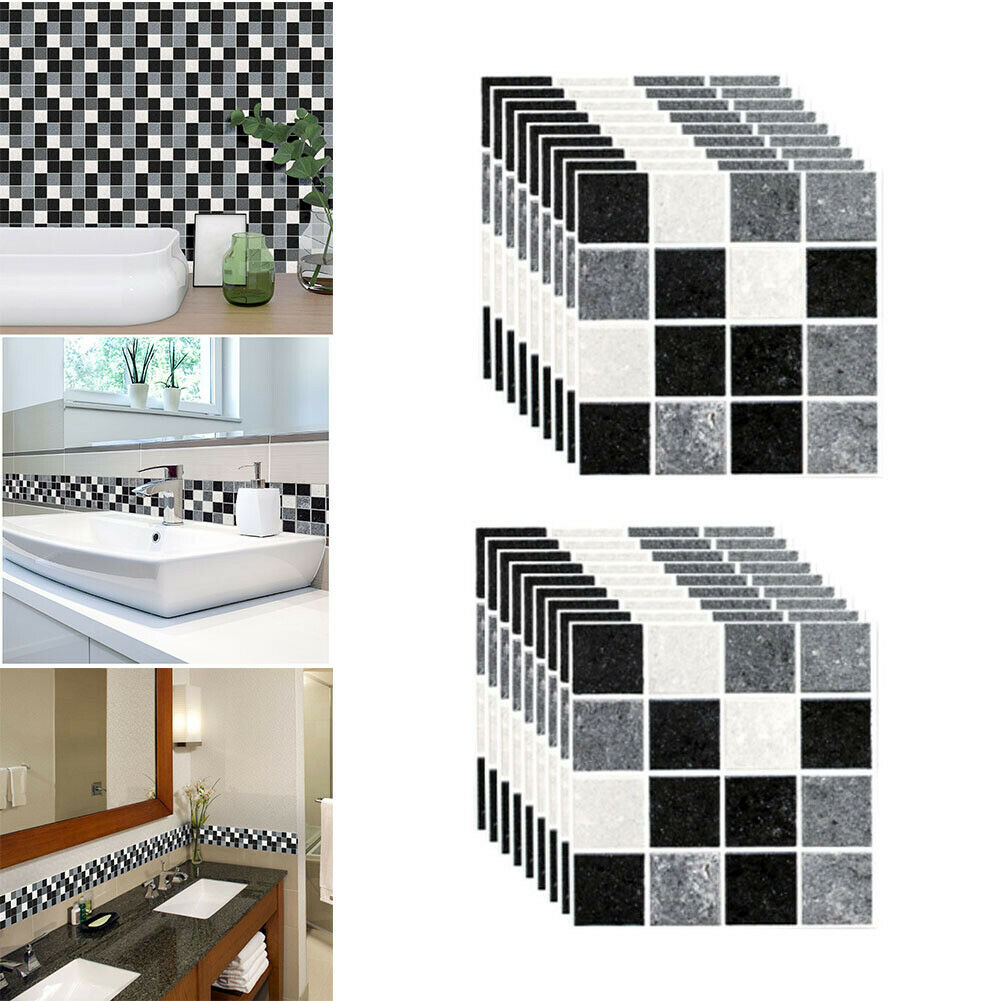 Home Decoration - Mosaic Sticker Kitchen Tile Stickers Bathroom Self-adhesive Wall Decor DIY Home