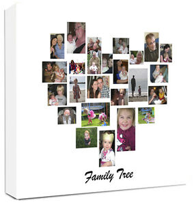 Personalised Photo Collage Canvas Family Tree Heart Shape Collage Ebay
