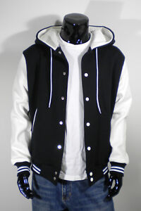 Mens New Hoodie Varsity Baseball Jacket Black&ampampWhite SMLXL
