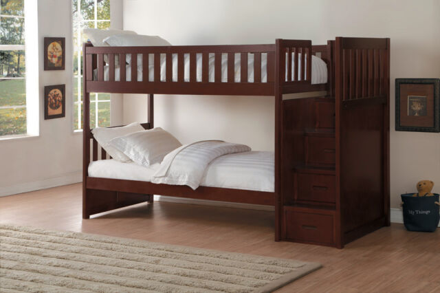 Dark Cherry Twin Bunk Bed Storage Stair Drawer Steps Bedroom