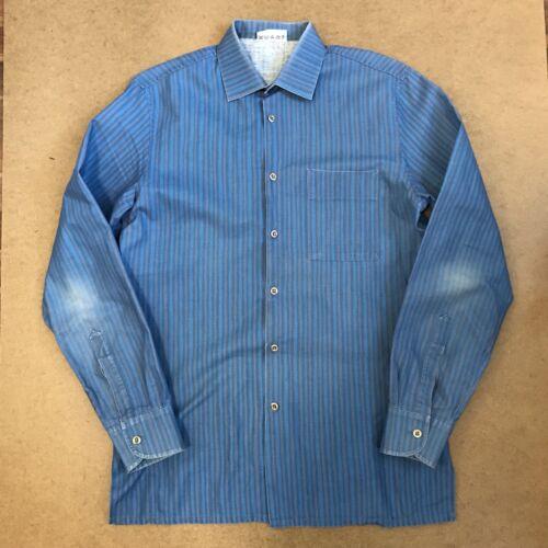 Marimekko Vintage Stripe Shirt Blue Cotton Finland
