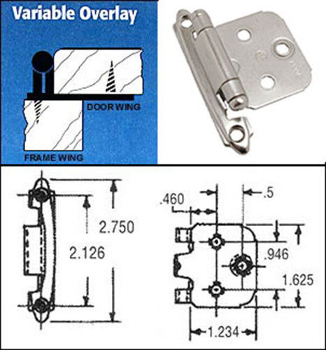 LOT 10 AMEROCK Steel Variable Flush Overlay Cabinet Hinge Satin Nickel CM7139G10