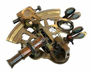 Antique-Brass-Working-Marine-Sextant-Collectible-Vintage-Nautical-Ship-Astrolabe