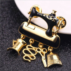Details about Vintage Enamel Sewing Machine Shape Brooch Lapel Pin Clothing  Jewelry Gift Z