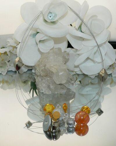 Sueño fünfreihiges statement halsreif Collier cadena de plata de color naranja claro 302v