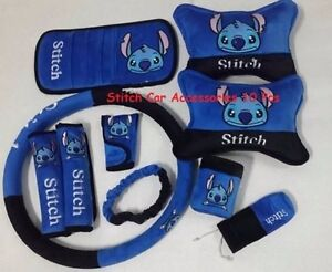 new disney stitch car accessories 10 pcs ebay. Black Bedroom Furniture Sets. Home Design Ideas