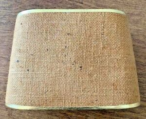 Vintage-Mid-Century-MCM-Burlap-Lamp-Shade-Small-Clip-On-Gold-Trim