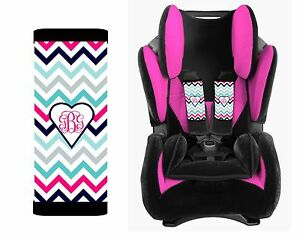 Image Is Loading MONOGRAMMED BABY TODDLER CAR SEAT STRAP COVERS PINK