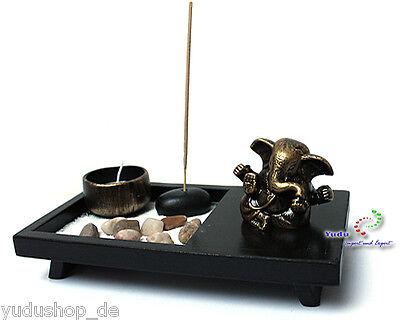 Zen - Garten mit Ganesha Figur  Räucherstäbchen Teelichthalter Nr: YD52