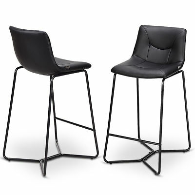 Super 2Pc Set Black Pu Leather Bar Pub Stool Counter Chair Metal Leg Kitchen Furniture Ebay Gmtry Best Dining Table And Chair Ideas Images Gmtryco