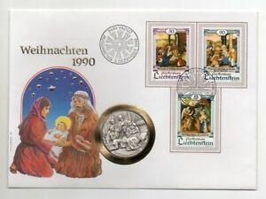 Lichtenstein-Numisbrief-Weihnachten-1990-mit-Silbermedaille-Weihnachten-1990