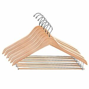 Details About Pack Of 6 Natural Wooden Suit Pant Hangers Solid Wood Coat Hanger W Locking Bar