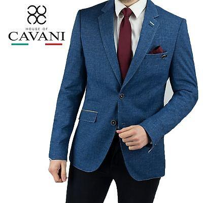 Mens Cavani Stretch Formal Slim Fit Jacket Blazer Suit Denim Casual Notch Lapel