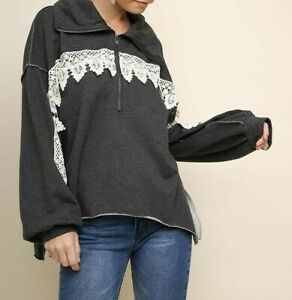 New-Umgee-Sweatshirt-L-Large-Gray-Crochet-Lace-1-2-Zip-Pullover-Top-Oversized