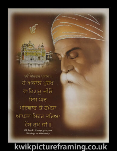 "20/"" x 14/"" Inch Guru Nanak Dev Ji Bless This Family Quote Picture Photo Framed"