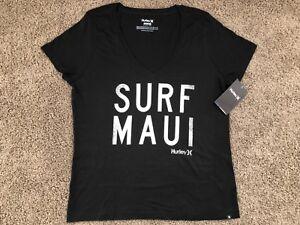 BRAND NEW HURLEY NIKE WOMEN S T SHIRT TEE V NECK SURF MAUI ALOHA ... 0e1ed6f6bc6