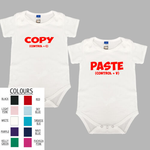 TWINS COPY PASTE SET BABY BODYSUIT FUNNY BABY SHOWER PRESENT NEWBORN COTTON