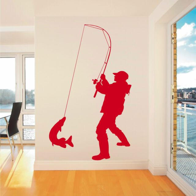 FISHERMAN ANGLER FISHING Vinyl wall art sticker decal