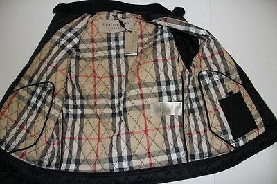 New Men Burberry Check Black Jacket  Quilted Heymarket Large L