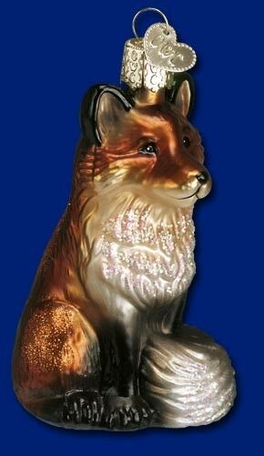 FOX WILDLIFE OLD WORLD CHRISTMAS BLOWN GLASS WILD ANIMAL HUNTING ORNAMENT 12099