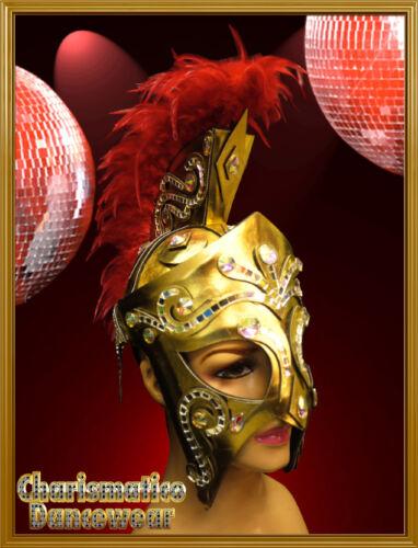 CHARISMATICO RED GOLD DIVAS CABARET DRAG QUEEN MOHAWK SHIELD WARRIOR HEADDRESS